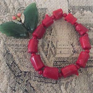 #222 Vintage RED CORAl Bracelet